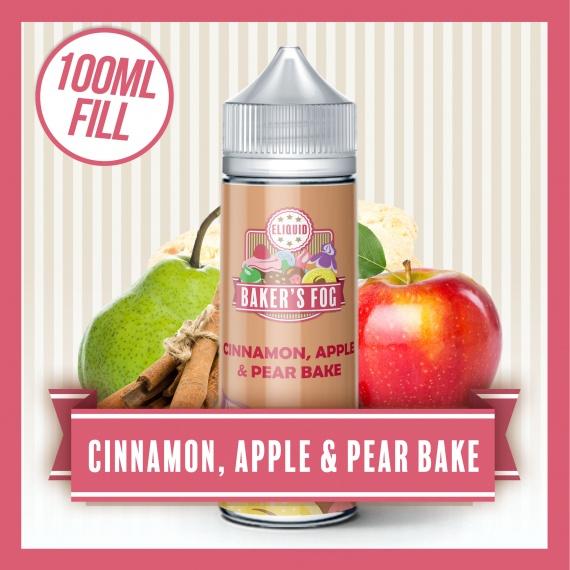 Baker's Fog Cinnamon Apple & Pear Bake eliquid 100ml Short Fill bottle